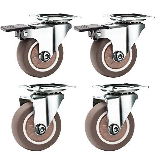 KSTEU Lenkrollen 4 Stück Transportrollen Gummirollen 50 mm bewegliche Lenkrollen Schwerlast mit Bremsen Trolley Möbelrolle mit 16 Schrauben für Kleiderschrank Bücherregal Tisch Schuhschrank