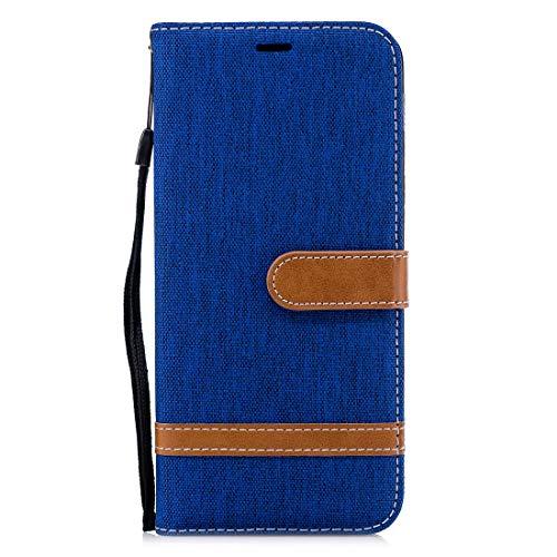 HH-Phone Case Funda de piel a juego con textura de mezclilla para Galaxy A6+, con soporte y ranuras para tarjetas, cartera y cordón (negro) hangma (color azul real)