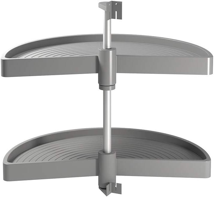 EMUCA - Kit de bandejas giratorias para Mueble de Cocina esquinero, bandejas giratorias 1/2 Luna de Ø750mm para modulo de 900mm, Gris