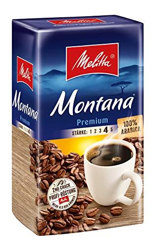 Melitta Gemahlener Röstkaffee, Filterkaffee, 100% Arabica, kräftig-feiner Geschmack, Stärke 4, Montana Premium, 500 g