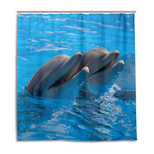 CPYang Duschvorhang, süßes Tier, Delfin, wasserdicht, schimmelresistent, Badvorhang, Heimdekoration, 168 x 182 cm, mit 12 Haken