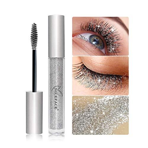 Allbestaye Diamant Glitzer Mascara Funkelnd Glänzend Silber Wimperntusche Make-up