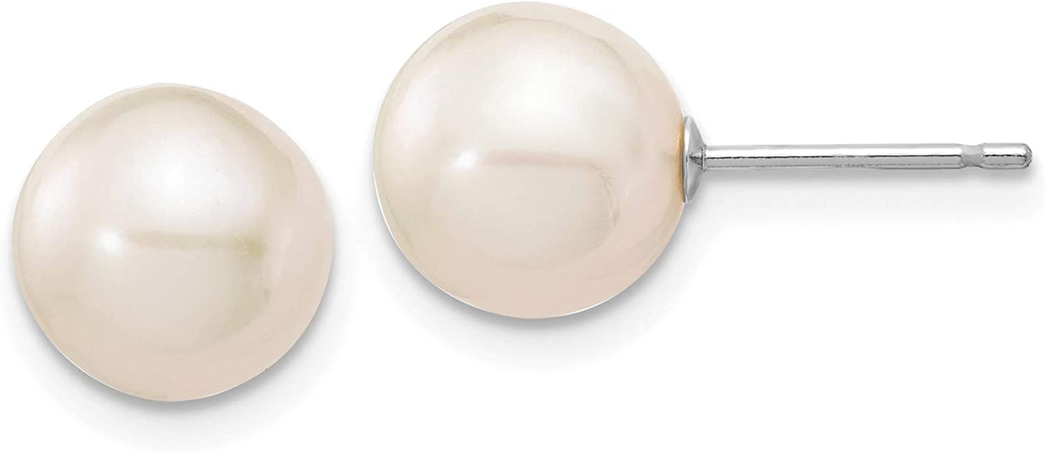 White Round Round Freshwater Cultured Pearl Post Earrings in Real 14k White Gold