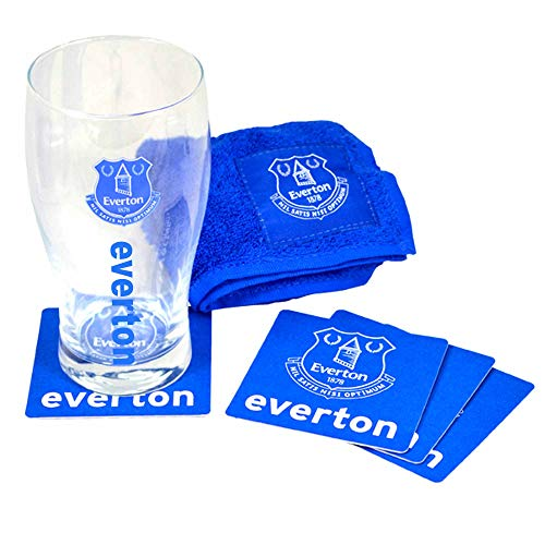 Official Everton FC Pint Glass Mini Bar Set Including Pint Glass, Bar Towel & Coasters