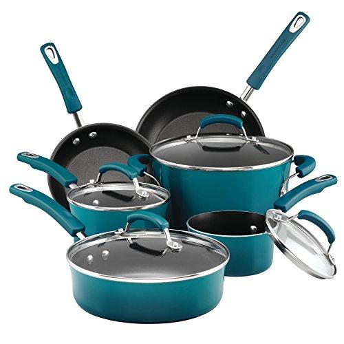 Rachael Ray Hard Porcelain Enamel Nonstick Cookware Set, 10-Piece, Marine Blue