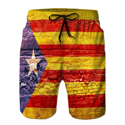 jiilwkie Shorts de Playa de natacin atlticos clsicos para Hombre con Bolsillos Bandera Nacional de catalua pa XL