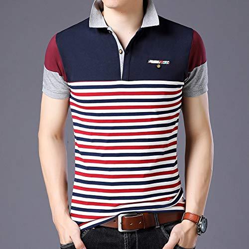 Poloshirt Kurzarm,Gestreiftes Spleißen Von Großen Männern Bequeme T-Shirts Atmungsaktives Fitness-Shirt Feuchtigkeitstransportierendes Lässiges T-Shirt Büro Golf Tennis Punk Top-T-Shirts Für He