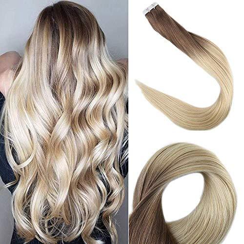 Full Shine Extensions Echthaar Blond Ombre Kleber Haare Tape on Extensions 22Zoll 20Stuck 50g Haarfarbe 6B/613 Kastanienbraune Mischung mit Gelbblond Tape on Hair