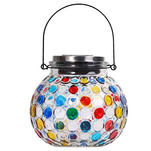 OSALADI Mosaik Vase Licht Solar Gartenlampe LED Glas Glas Lampe Hängelampe Keine Zusätzliche Stromversorgung Erforderlich Solar Laterne Licht Outdoor-Geschenk für Terrasse Veranda Garten