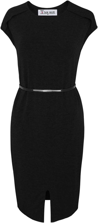 TAM WARE Women Stylish Sided Slits Elasticized Waist Midi Dress