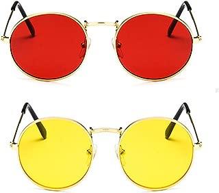 Davidson Round Gandhi Style Red and Yellow Sunglasses