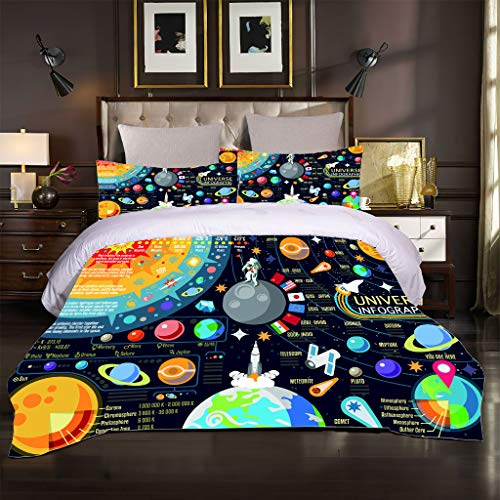 OJYUXD Duvet Cover Set - Bedding Cartoon Space Astronaut Pattern Quilt Covers 3 Pieces Easy Care And Super Soft Microfiber Design.Double Size 180X220 Cm + 2 Matching Pillowcase.
