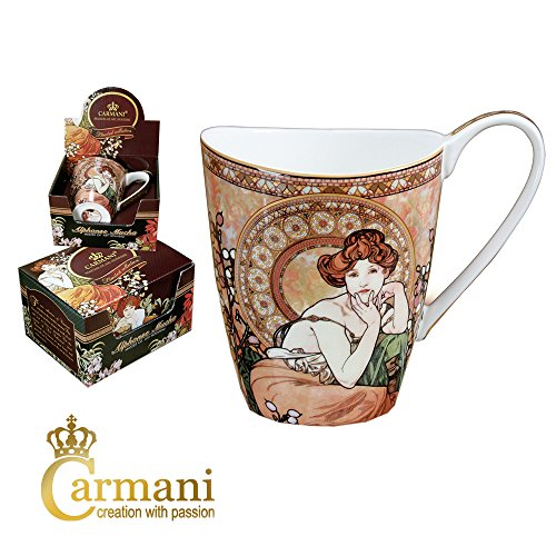 CARMANI - Grande tasse en porcelaine décorée avec 'Topaz' par Alfons Mucha