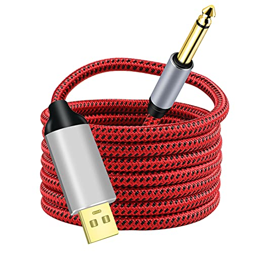 Guitar to USB Cable Adapter, fhjsyye USB to 1/4' Electric Bass Guitar Cord for Recording, 6.35MM TS Male Jack to Computer USB Interface, Nylon Braided, OFC Shield, Plug-and-Play Connection 10Ft