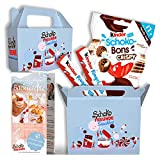 SchokoFreunde Geschenke® Snackbox inkl. Schoko Bons Crispy und Kinderriegel, Ferrero Kinderschokolade Geschenke, Besondere Überraschungsbox für Geburtstage oder Partys, Gratis Backrezepte inklusive