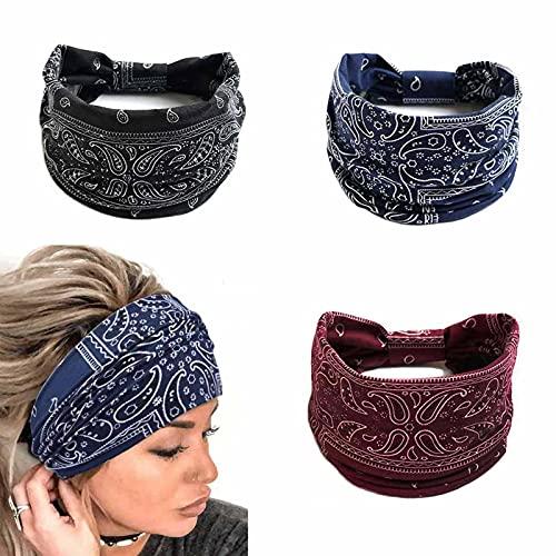 Yean Diademas anchas, elásticas para el pelo, diademas bohemias para mujeres y niñas (paquete de 3) (envolturas para la cabeza bohemia1)