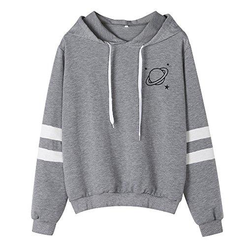 HOTHONG Sweatshirt Hoodies imprimé Sweat à Capuche Tops Femme Blouse Shirt Rayé Streetwear Pull Manches Grande Taille Veste de Sportwear