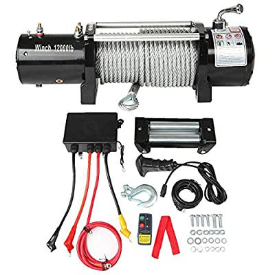 ALAVENTE 12V Electric Recovery Winch Set with Wireless Remote Wire Rope