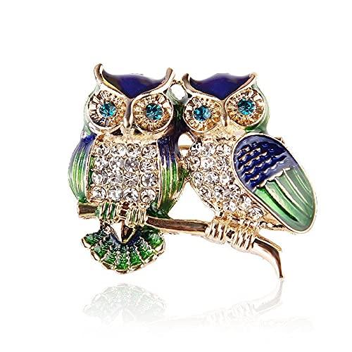 Ojos azules Esmalte Pins Rhinestone Pareja Búho Broche Animal Broches Para Mujeres Hombres Ropa Bufanda Hebilla Collar Joyería Pins-Default