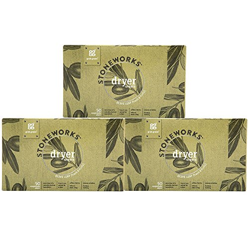 Price comparison product image Grab Green Stoneworks Dryer Sheets,  Naturally-Derived & Compostable,  Free of Wax & Animal-Derived Ingredients,  Olive Leaf,  50 Sheets,  3-Pack