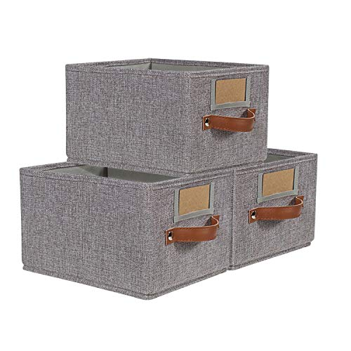Foldable Storage Baskets for Shelves Set of 3, Fabric Storage Bins with Labels, Decorative Cloth Organizer Storage Boxes, Rectangle Closet Bedroom Drawers Organizers for Home|Office 11.4x8.7x6.7