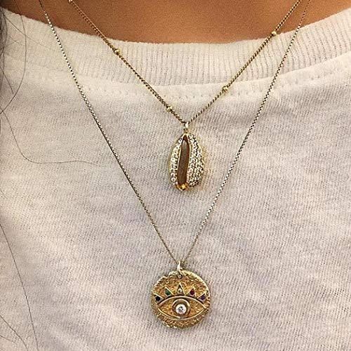Yienate Collier bohème pour femme et adolescente avec pendentif en forme de coquillage en strass pour filles (doré)