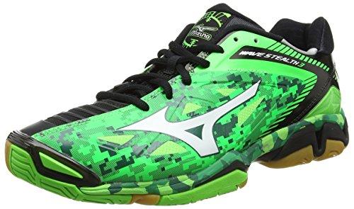 Mizuno Wave Stealth 3, Chaussures de Handball mixte adulte, Vert (Neon Green/White/Black), 46.5
