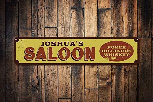 Saloon Schild personalisierbar Bartender Name Poker Billard Whiskey Schild Custom Saloon Decor Metall Bar Schild Retro Metall Wand Dekoration Kunst Shop Mann Höhle Bar Garage Aluminium Schild