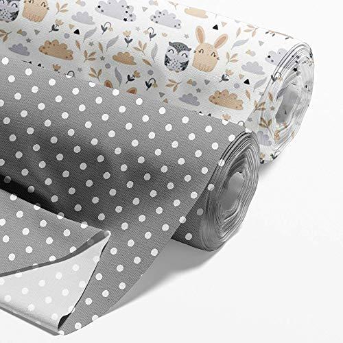 Baumwollstoff Meterware Stoff aus Baumwolle Set 2 x 100x160 cm - Stoffe zum Nähen Nähstoffe Eulen, Weiße Punkte auf Grau