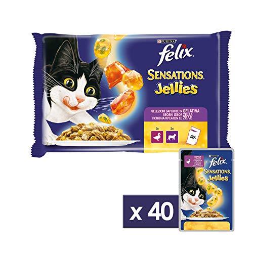 Purina Felix Sensations Jellies Umido Gatto con Agnello in Gelatina Insaporita con Selvaggina e con Anatra in Gelatina e Spinaci, 40 Buste da 100 g Ciascuna, 10 Confezione da 4 x 100 g