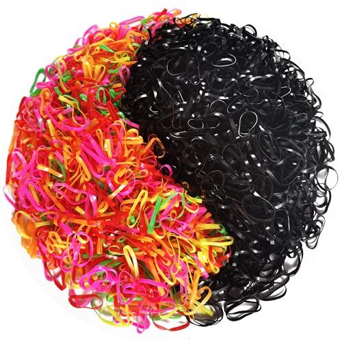 APPMOO 2000pcs Mini Elastic Bands, Soft Hair Elastics for Kids - Mini Rubber Hair Tie, Premium Elastic Band for Toddlers, Girls, Women, Babies, Braids, Long Hair, Ponytails and More (Black&Colored)