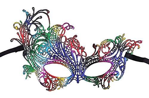 AshopZ Women's Goddess Venetian Masquerade Lace Eye Mask, Phoenix Rainbow