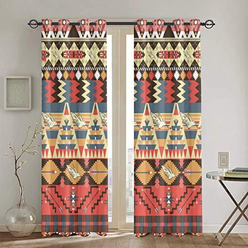 MAYUES Cortinas Opacas Cojines con Motivos africanos,con Aislamiento térmico,2 Panel 130cmX210cm