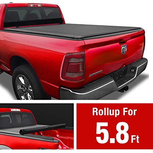 MaxMate Soft Roll Up Truck Bed Tonneau Cover for 2009-2018 Dodge Ram 1500   2019-2020 Classic Only   Fleetside 5.7' Bed   Without RamBox