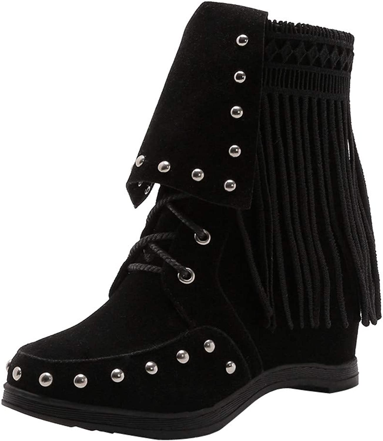 JESPER Women Winter Spring Suede Tassel Snow Boots Wedges Round Toe Lace-Up Ankle Boots
