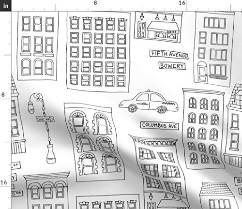 Spoonflower Fabric - City Line Drawing Coloring Black White Book Printed on Satin Fabric by The Metre Sewing Lining Apparel Fashion Blankets Decor