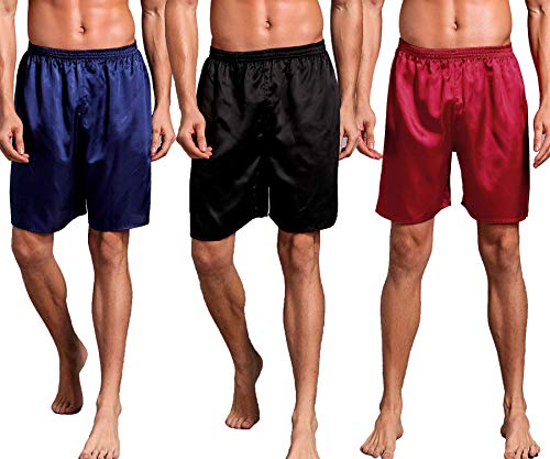 Admireme Mens Satin Boxers Shorts Satin Sleep Pajamas Shorts Travel Underwear (3 Pack(Blue+Black+Red), XX-Large)