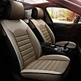INCH EMPIRE Cloth Car Seat Cover Synthetic Linen Fabric Water Washable Breathable Sweat Proof Cushion Front and Rear Full Set Universal Fit for Sedan SUV Truck Hatchback(Light Tan)