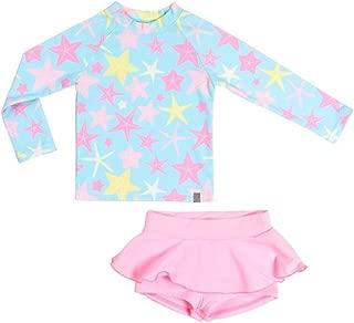 Girls Rashguard Swimsuit Two Pieces UV Sun Protection Tankini Sets Long Sleeve Swimwear