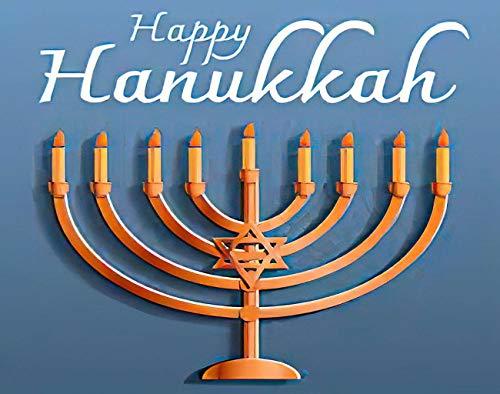 Ghjxda 5D DIY Happy Hanukkah Diamond Painting Kits Cartoon of for Belief Blue Bokeh Candelabra Painting Arts Craft Canvas for Home Wall Decor Full Drill Cross Stitch 12x16 Inch