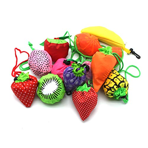 YUYIKES 10PCS Fruits Reusable Grocery Shopping Tote Bags Folding Pouch Storage Bags Convenient Grocery Bags for Shopping Travel
