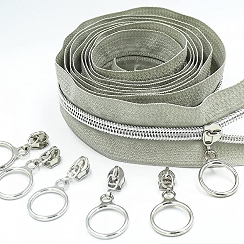 2M 4Pcs Slider 5# Colored Silver Tooth Nylon Zipper Coil Code Decoration Luggage Garment Purse Bags DIY Home Sewing Accessories-Light Grey,5#,2 Meters