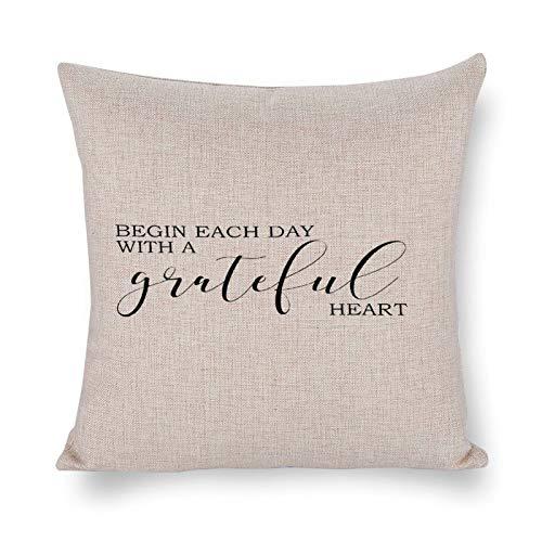 Iniziare ogni giorno con un cuore gratato (2) Federa copricuscino decorativa in lino con citazione motivazionale, decorazione rustica per la casa, 55 x 55 cm