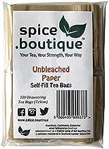 Spice.boutique Unbleached Paper Self Fill Teabags, Plastic Free, One Pot Size 7x9cm, 100