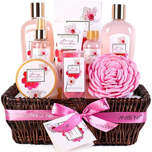 Green Canyon Spa Geschenk Körbe für Frauen Geburtstag Geschenksets 10er Pack Kirschblüte Ätherisches Öl Spa Geschenksets mit manuellem Handkorb