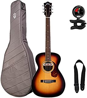Guild M-240E Troubadour VSB Acoustic-Electric Guitar with Guild Deluxe Padded Gig Bag, Snark Tuner, and Strap, Vintage Sunburst