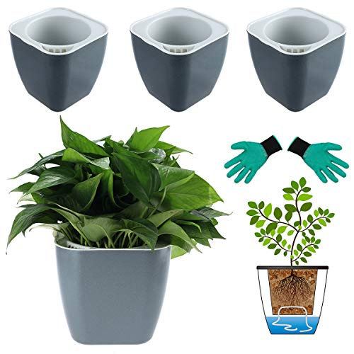 DeEFL 3 Packs 7 Inches Large Self Watering Planters Plastic Self Watering Pots Wicking Flower Pots for Indoor Plants, African Violet, Ocean Spider Plant, Orchid, Black Gold