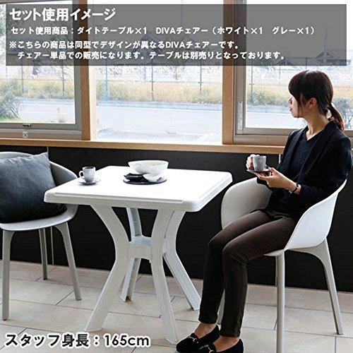 デザインチェアーFLOWディーバチェアーティール青緑(プラスチック軽量屋外室内イスインテリアチェアー木目イタリア家具DIVA)