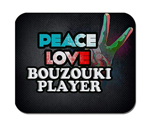 Makoroni - Peace Love Bouzouki Player Music- Non-Slip Rubber - Computer, Gaming, Office Mousepad
