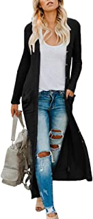 Imily Bela Womens Duster Cardigan Long Draped Maxi Knitted Lightweight Coat Sweater